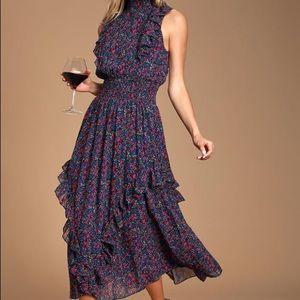 Lulus Navy Blue Floral Print Mock Neck Midi Dress